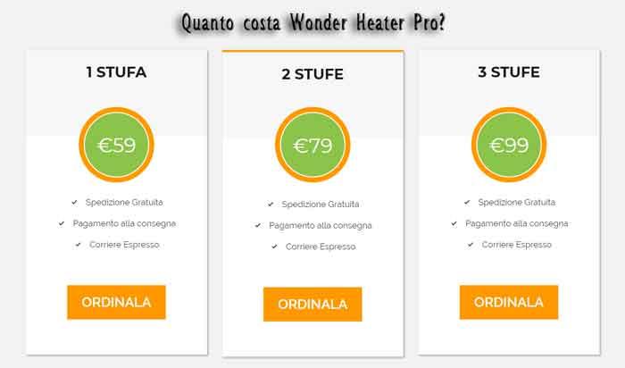 Wonder Heater Pro prezzo del prodotto