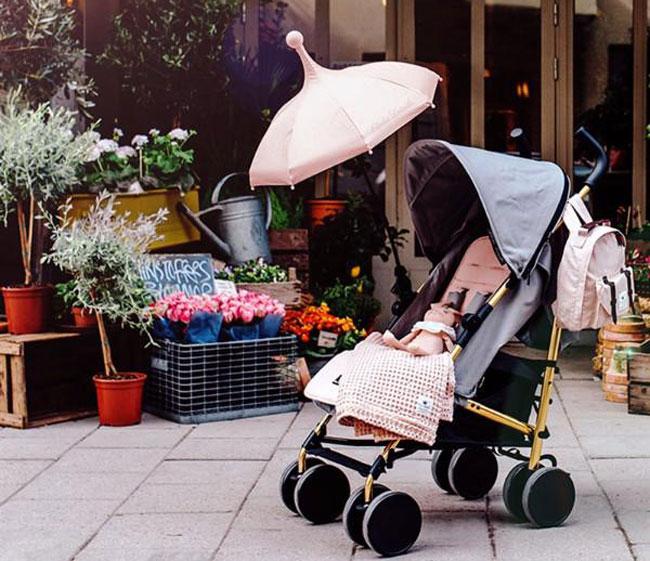 IVYSHION Ombrellino Parasole per Passeggino Universale Protezione Anti UV Pieghevole Ombrello per Passeggino//Carrozzina Bambino Diametro 75 cm