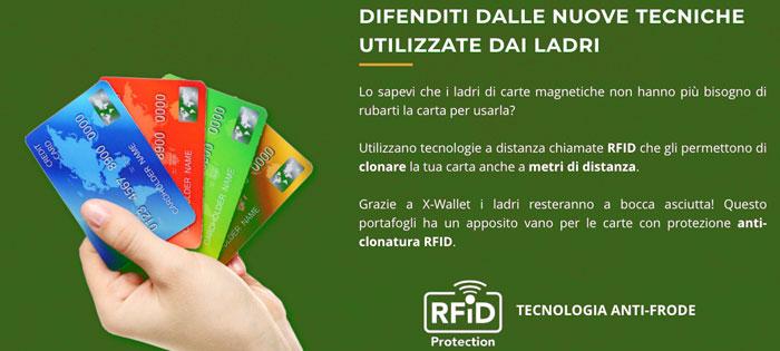 X Wallet portafogli anti RFID