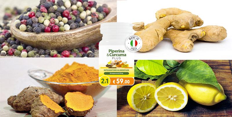 Ingredienti di Piperina e Curcuma Plus