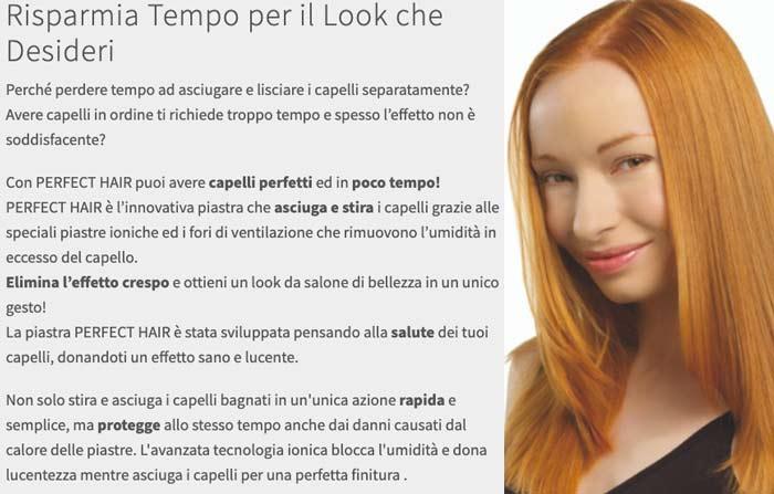 Caratteristiche della piastra Perfect Hair 2in1